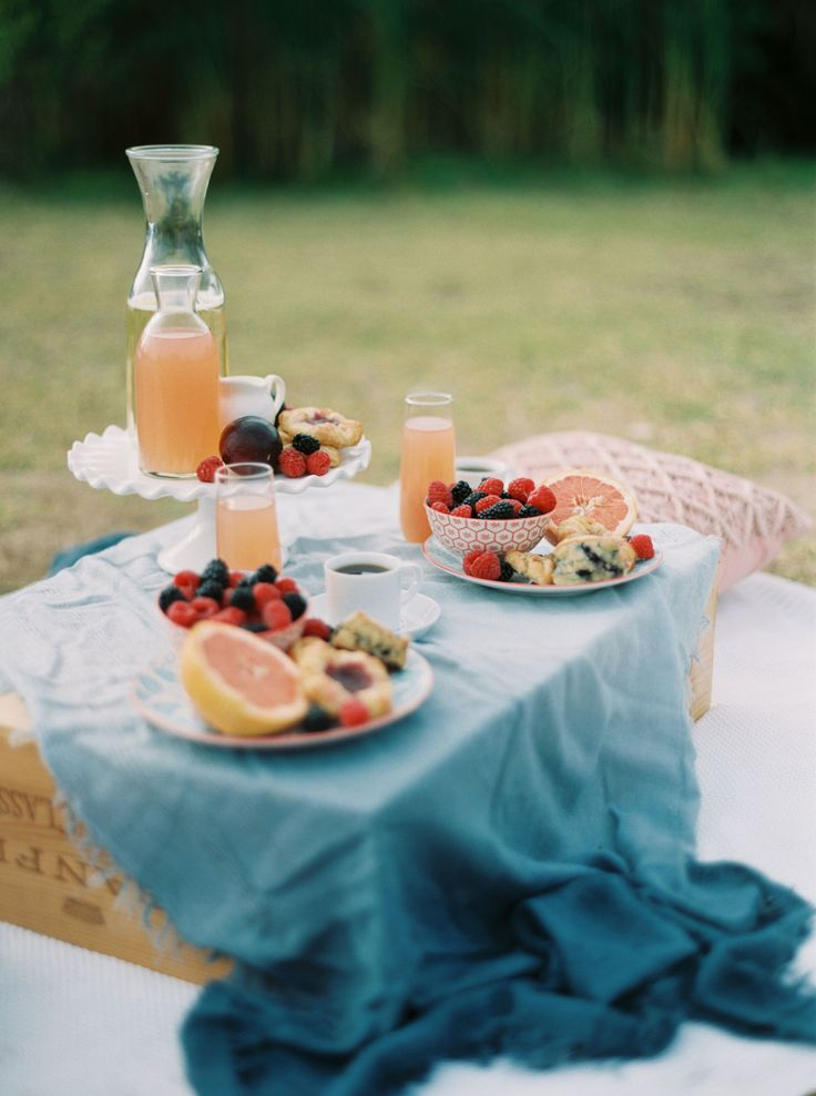 THE NOTEBOOK ENGAGEMENT PHOTO SESSION | Fun and romantic breakfast picnic setup with a blanket, pillows, fruit, breakfast pastries, coffee and mimosas | engagement photos, engagement photos ideas, unique engagement photos
