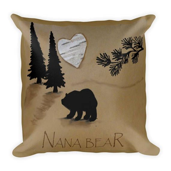 Rustic home decor pillow-2 sided pillow-nana and papa bear pillow- throw pillow-rustic decorative pillow-rustic birch home decor- birch p