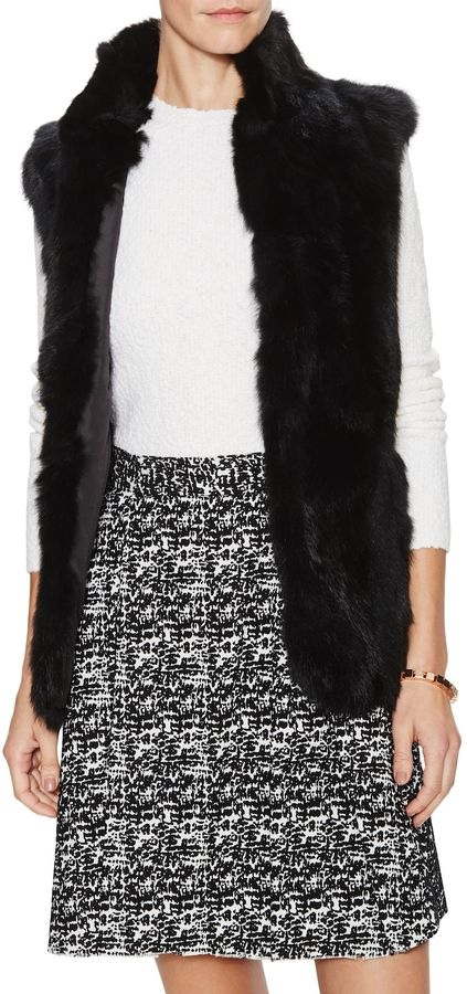 Adrienne Landau Women's Textured Long Rabbit Fur Vest