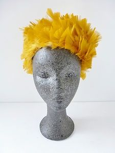 Yellow pillbox Hats for Women | Vintage 50s yellow/mustard feather pillbox hat
