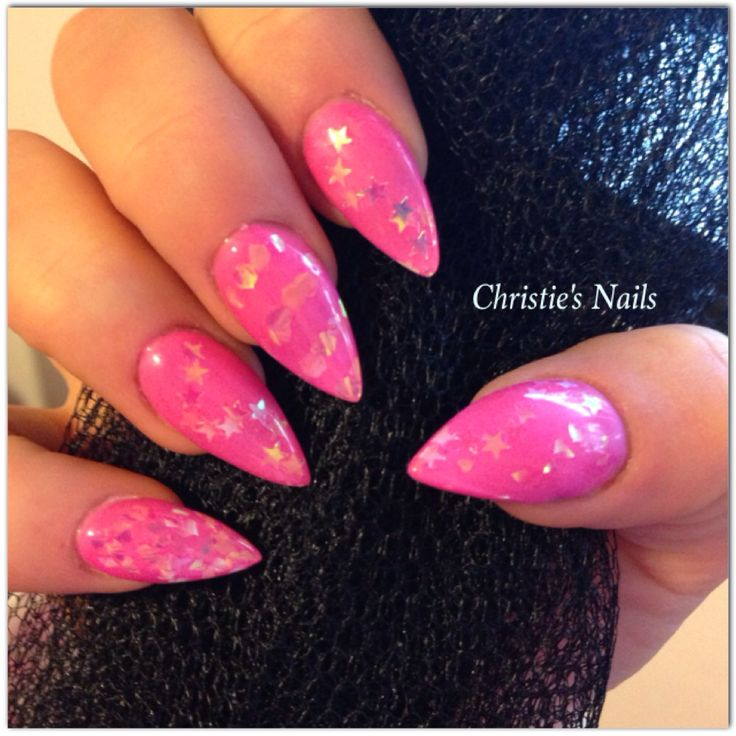 #pink #almondnails #pointynails