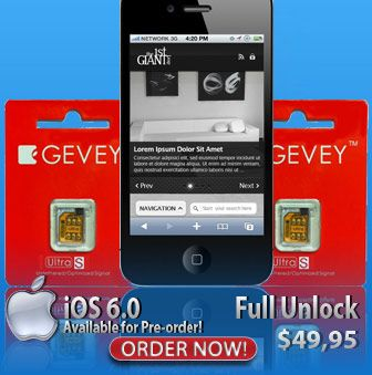 Gevey Unlock SIM iPhone 4 iOS 6.0.1