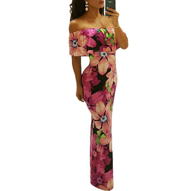 Boho Fashion Long Summer Dresses Off The Shoulder Strapless Flower Print Backless Elegant Party Maxi Dress