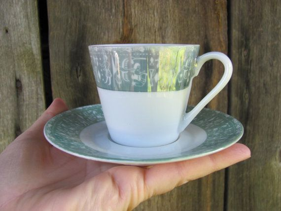 Set of 2 Small Coffee Cups with Saucers Vintage by OLaLaVintage