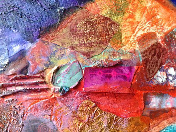 Red Mountain is een origineel schilderij abstracte mixed media op doek met een 3 kalk gewassen houten frame en slip. Ik opgebouwd lagen op het doek met verschillende papieren, golfkarton, schelpen, een kleine afbeelding van een andere van mijn schilderijen en een verscheidenheid aan media, die ik dan overpainted met oliën. In mijn schilderijen, allereerst om te onderzoeken hoe de verf en kleur worden beïnvloed door de textuur van het materiaal onder, en hoe deze op hun beurt worden beïnvloed…