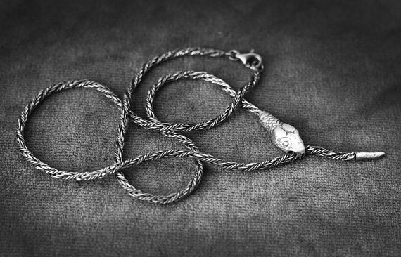 ANTIQUE Ouroboros Twist Chain Snake Necklace Sterling Silver