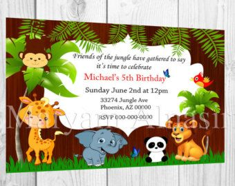 Safari Jungle Animals Birthday Party printable invitation by PNArt