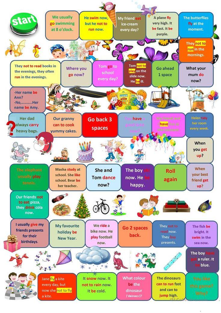 Board game present simple vs present continuous English