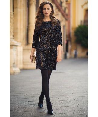 Peruzzi - Sequin Black Shift Dress