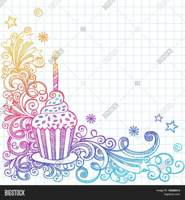 Hand Drawn Sketchy Ornate Cupcake Doodle Page Border Notebook Doodles On Grid Graph Paper Background Vector Illustration