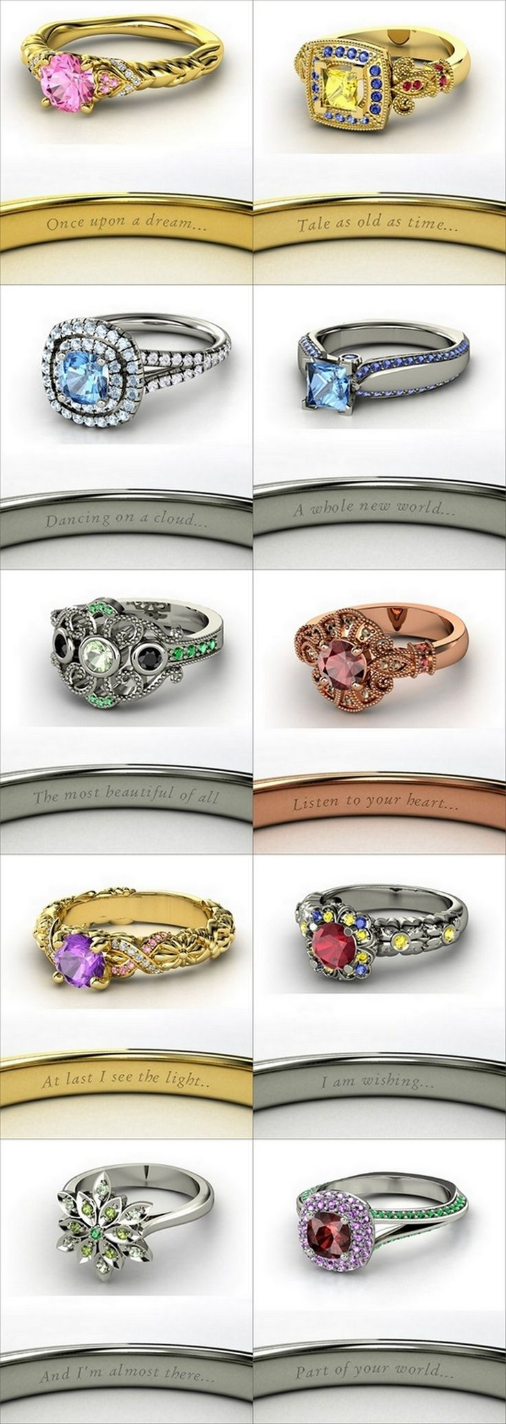 Modern #rings inspired from #Disney princesses
