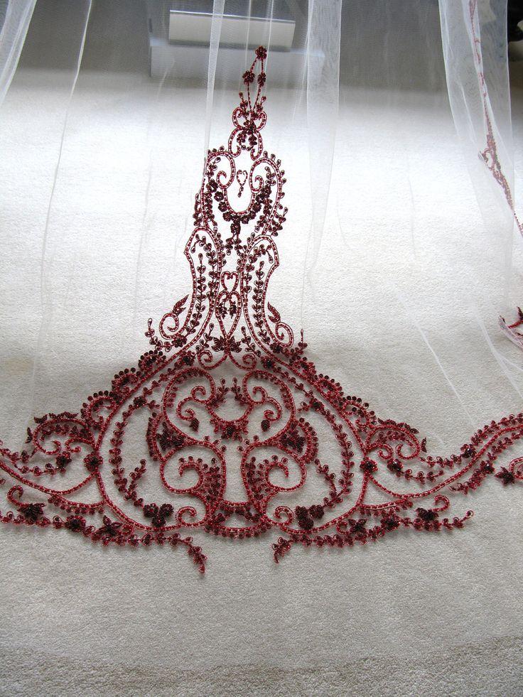 WOW red bridal veil! Couture bridal or wedding veil mini Sophia by SarahMorganBridal