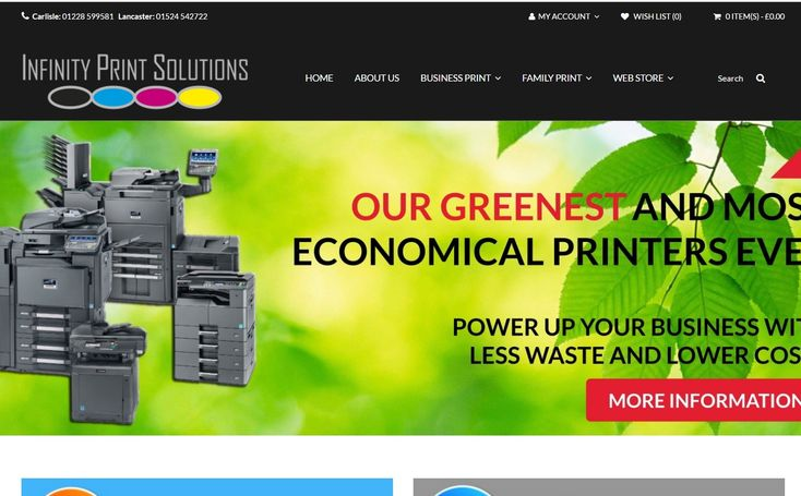 A comprehesive e-commerce website design for Infinity Print Solutions of Carlisle and Kendal - with automated product and price-file imports for stock and data control.