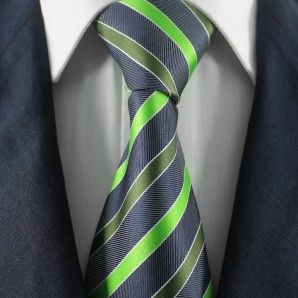 Green & Black Striped Neckties / Formal Business Neckties