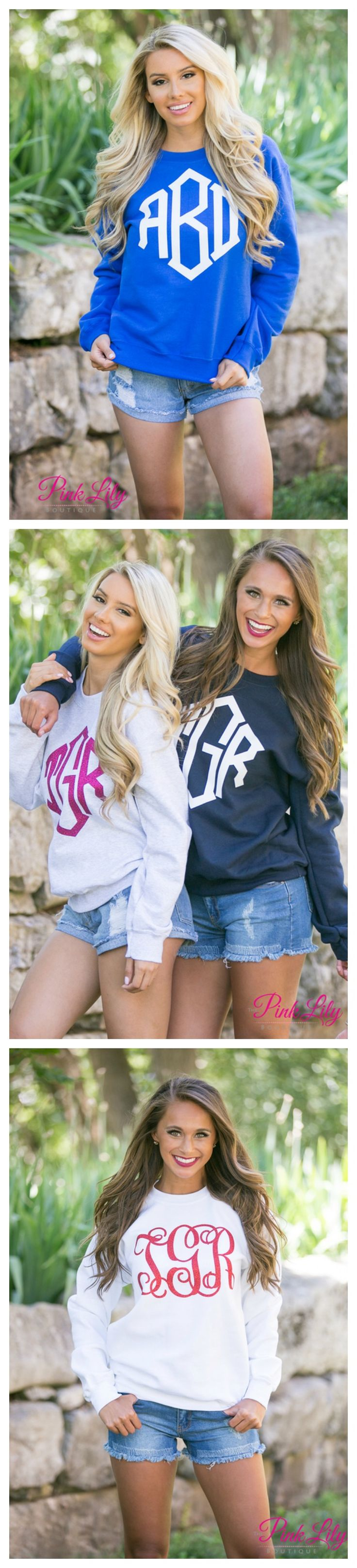 These comfortable vinyl monogram sweatshirts are the perfect way to show off your monogram on a breezy spring or summer night! Whether watching Netflix on a relaxing Saturday morning or making s'mores at a bonfire, you'll look stylish and stay comfortable all day long!