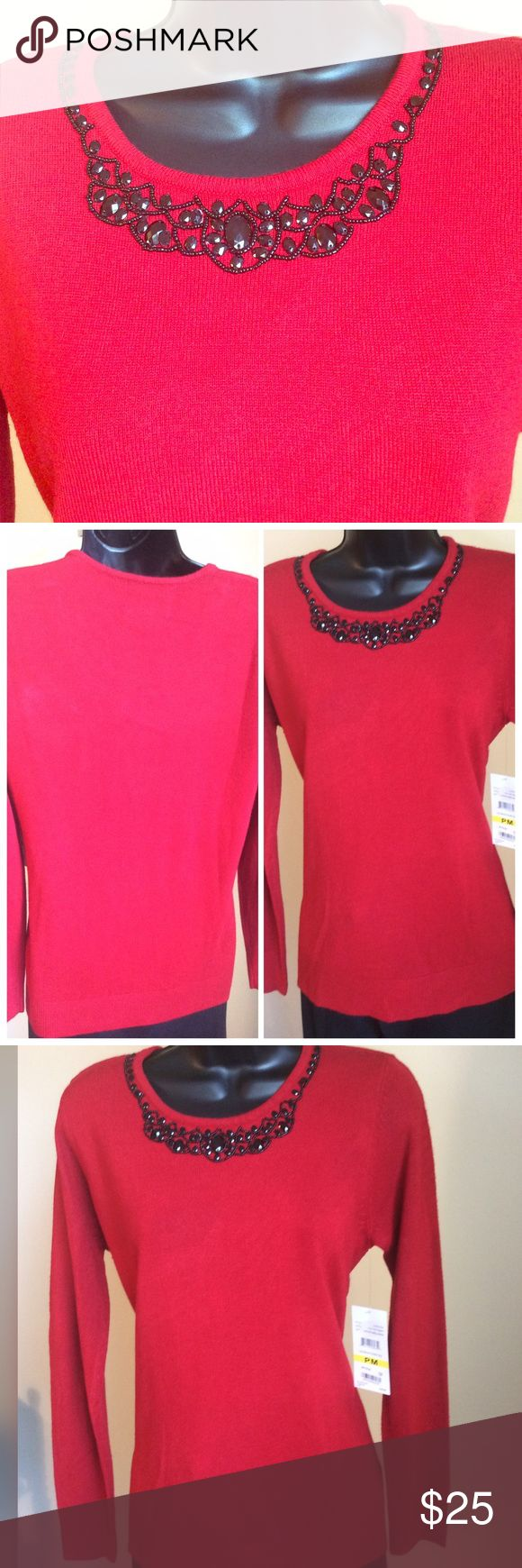"Debbie Morgan Red Petite Sweater  Beautiful red sweater with black stone embellishments. Measures 20"" across the chest and 25"" long. Purchased from Macys but never worn. Debbie Morgan Sweaters Crew & Scoop Necks"