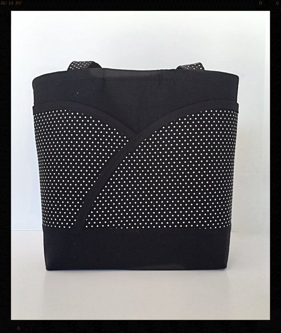 Black and white polka dot tote bag Black tote bag by DeesDeeZigns1