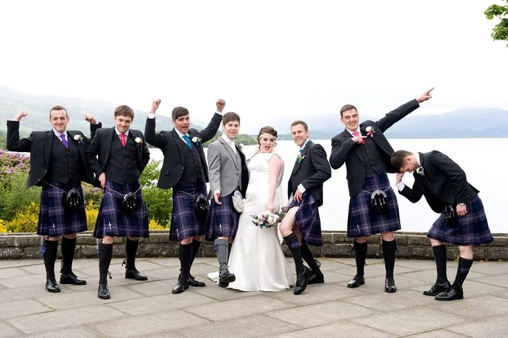 Euan wore our MacGregor and MacDuff exclusive Lomond Tweed jacket and waistcoat, while his groomsmen were in our exclusive Glen Orchy Tweed Jackets. All of the groomsmen wore Scotland Forever tartan kilts. #macgregorandmacduff #scottish #weddings #kingsofkilts #euanandkayleigh #highlandwear #kilts #groomswear #menswear #tartan #macgregorandmacduffweddings