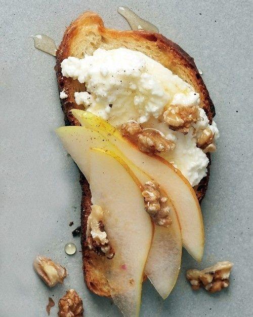 Pear, Walnut, And Ricotta Crostini, divine divine divine. (using part-skim ricotta, 1/16 recipe is: 91 cals, 4g fat, 4g protein, 1g fiber)