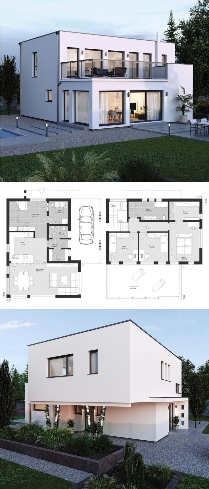 Moderne Bauhaus Stadtvilla Grundriss mit Flachdach…