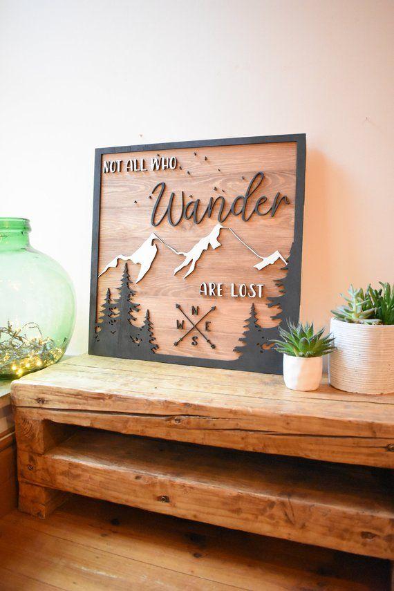 3d Mountain Compass Wall Art Wood Sign Wall Decor Inspirational