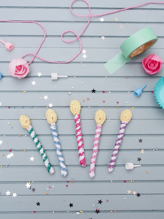 Crochet Birthday Candle. Free Pattern ༺✿ƬⱤღ http://www.pinterest.com/teretegui/✿༻