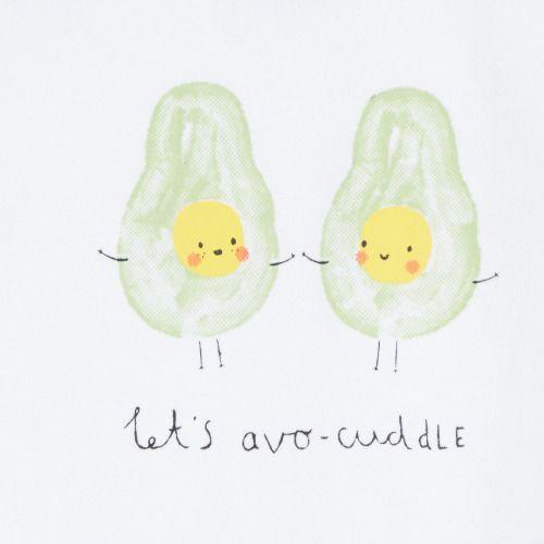 Let's Avo-cuddle! A new graphic I did for a Debenhams baby sleepsuit, available now   http://www.debenhams.com/webapp/wcs/stores/servlet/prod_10701_10001_221010709580_-1  #avocuddle #avocado #illustration #cute #debenhmas
