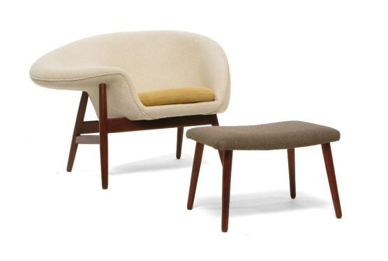 Fried Egg Chair with Toast Ottoman, by Hans Olsen for V. Birksholm, 1956