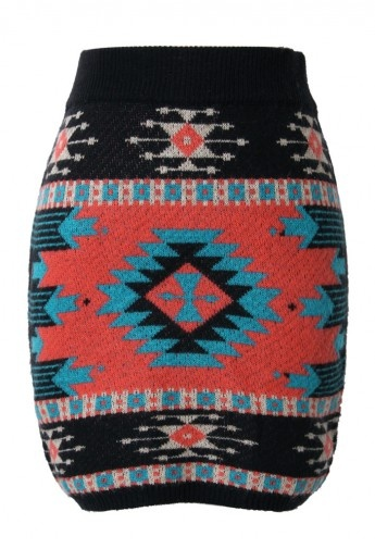 Aztec print skirt. I would rock this with red tights and black boots!
