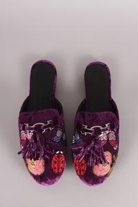 Wild Diva Lounge Embroidery Velvet Horsebit Mule Flat