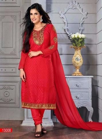 Designer Salwar Suits is mainly ornamented with stones, pearls and beads to give sleek finish. You can get a wide range of salwar suit in vivid cuts and styles around sleeves, neck, kameez and churidar.