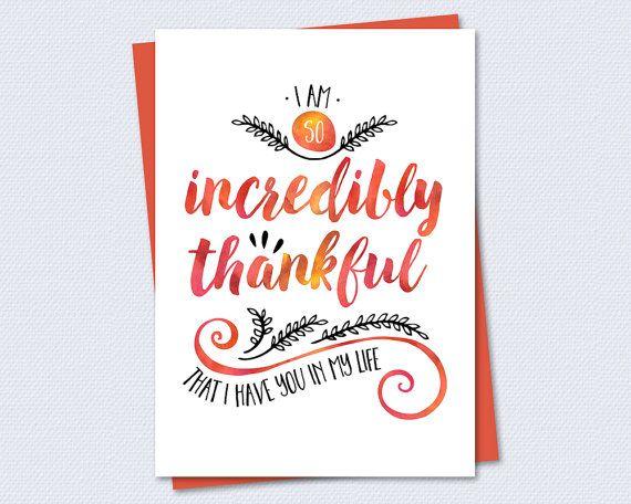 thanksgiving card  incredibly thankful  printable card