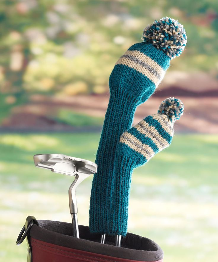 Golfers will love these striped knit club covers. This easy pattern includes two sizes so you can protect your putters, irons and woods. Great gift idea for men or, made in prettier colors, for women!