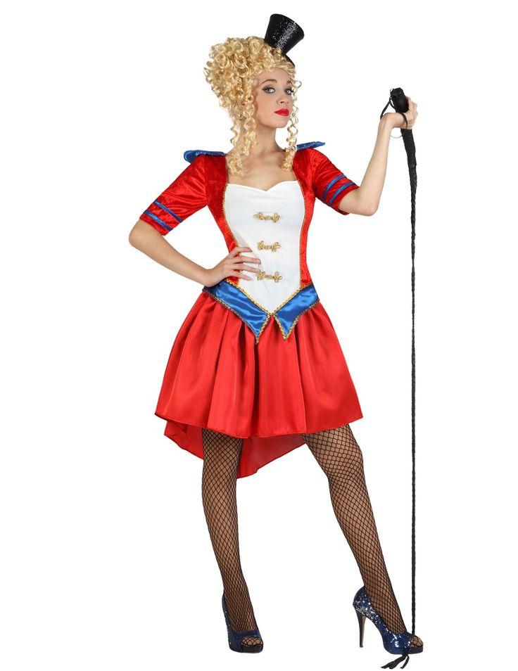 Disfraz domadora de circo mujer: Este disfraz de domadora de circo para mujer incluye vestido (látigo, gorro, medias y zapatos no incluidos).El vestido es rojo con imitación terciopelo y mangas cortas. El pecho es...