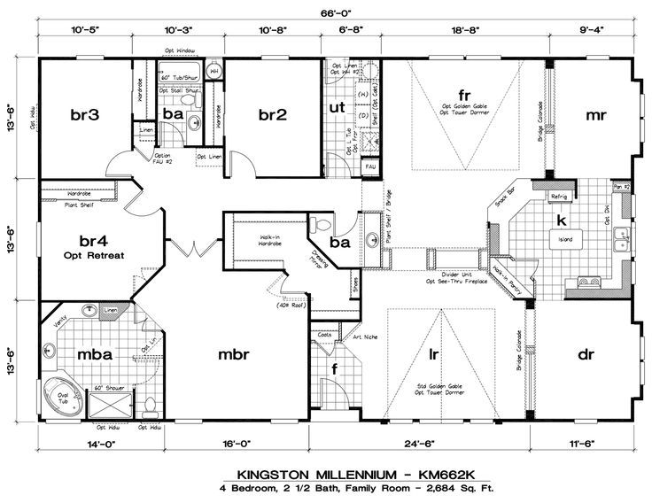 This plan is for a triple wide manufactured home, but it could work for a regular home too.