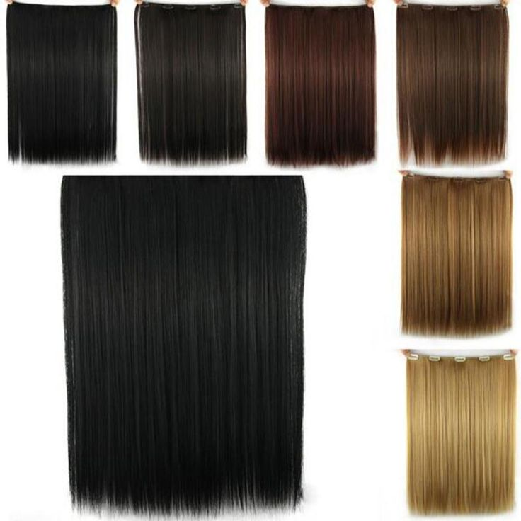 Long Straight Synthetic Hair Extension One Piece 5 Clips in Hair Extensions