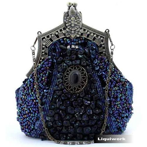 Navy Blue Beaded Silk Victorian Gothic Bridesmaid Evening Purse Bag SKU-1110124