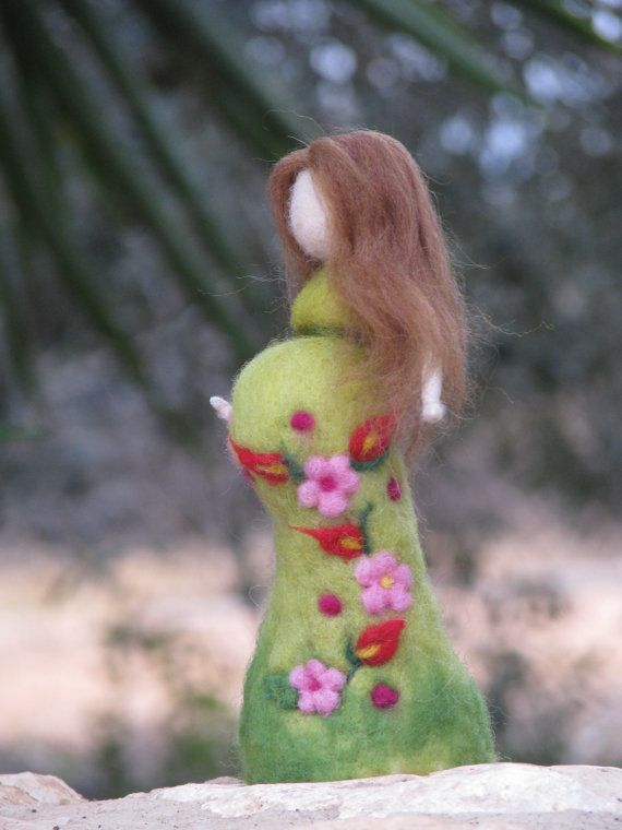 RESERVED    Needle felted waldorf inspired standing doll. She is tall about 7.5, her dress turquoise, decoradted with flowers. You can change