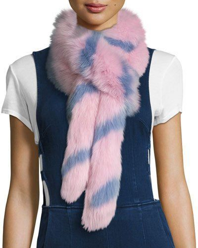 Charlotte Simone Swirly Striped Fox Fur Scarf, Pink