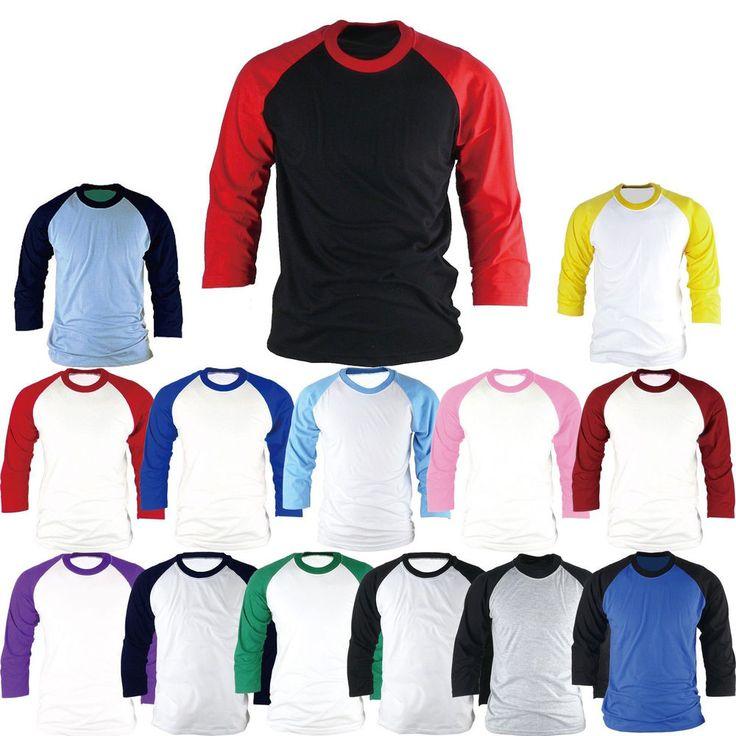 Raglan T-Shirt 3/4 Sleeve Baseball Jersey Round Crew Neck Sports Team Tee New #hellobincom #RaglanCrewNeckTShirtShirtsTops