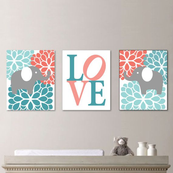 Baby Girl Nursery Art - Flower Elephant Nursery Decor - Kids Wall Art - Baby Girl Gift - Gift for Baby Girl - Teal Coral Turquoise (NS-495)