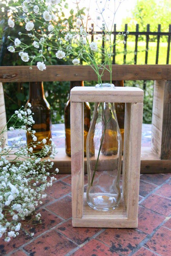 Diy candelabros o floreros con botellas y madera | DEF Deco - Decorar en familia