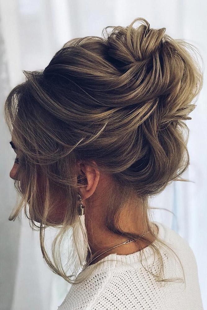Wedding Updos For Short Hair Light Brown With High Swept Bun Dianovaelstile Weddinghairupdos Short Hair Lengths Thick Hair Styles Short Hair Updo