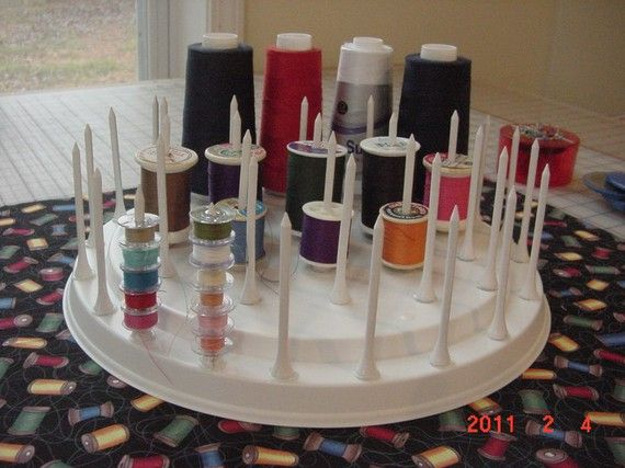 Thread Spool Bobbin Holder Organizer Sewing Room by ilovethathat