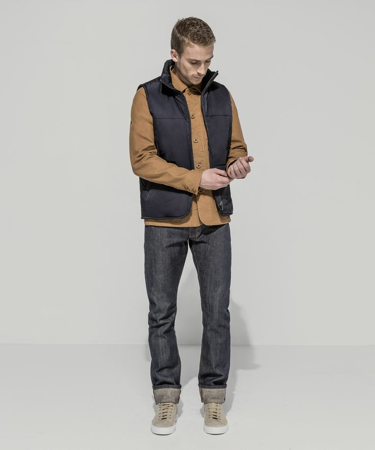 Waterproof Taffeta Twill Puffer Vest (Midnight) Heavyweight Oxford Canvas Garment Dyed Patch Pocket Chore Jacket (Tobacco) Premium Selvedge Straight Leg (24 Dip Dark Indigo - Raw)