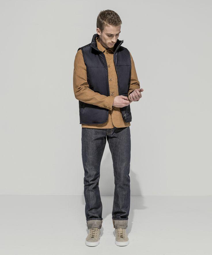 Waterproof Taffeta Twill Puffer Vest (Midnight) Heavyweight Oxford Canvas Garment Dyed Patch Pocket Chore Jacket (Tobacco) Premium Selvedge Straight Leg (24 Dip Dark Indigo - Raw)