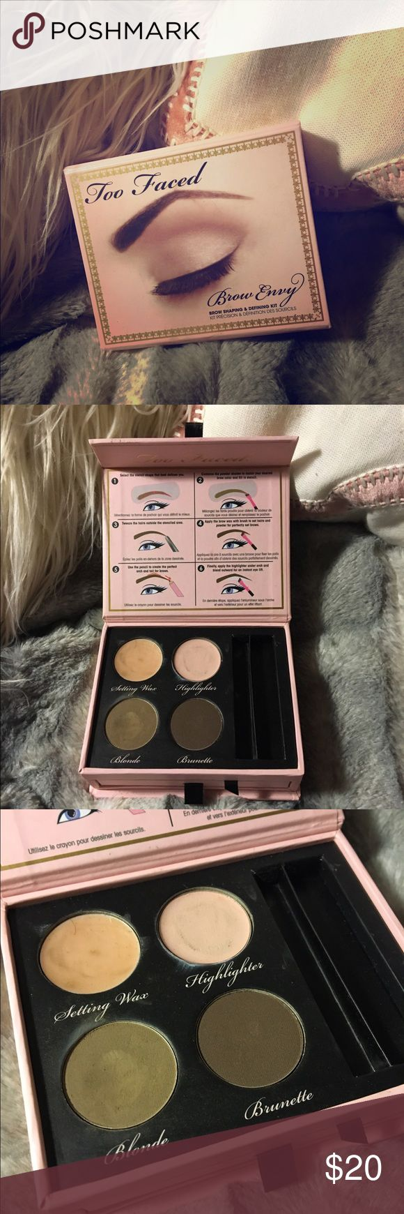 Too Faced Brow Envy brow shaping& defining kit It has been used, but with brushes so it's perfectly clean, I do not have the brushes anymore, are used like a slight lipstick brush or an eyeliner brush to do it. I only used it twice so it's only a little bit uses Too Faced Makeup Eyebrow Filler