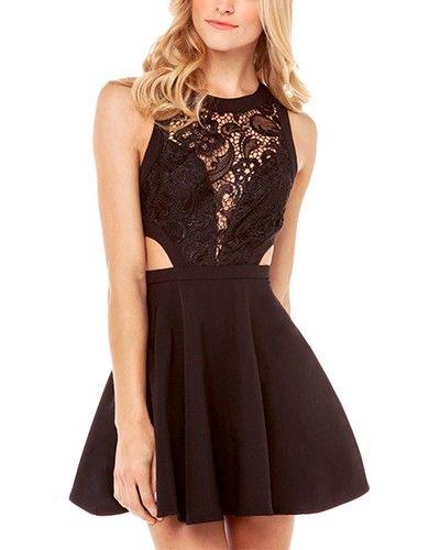 Black Cut Out Waist Skater Dress With Lace Detail DR0150522