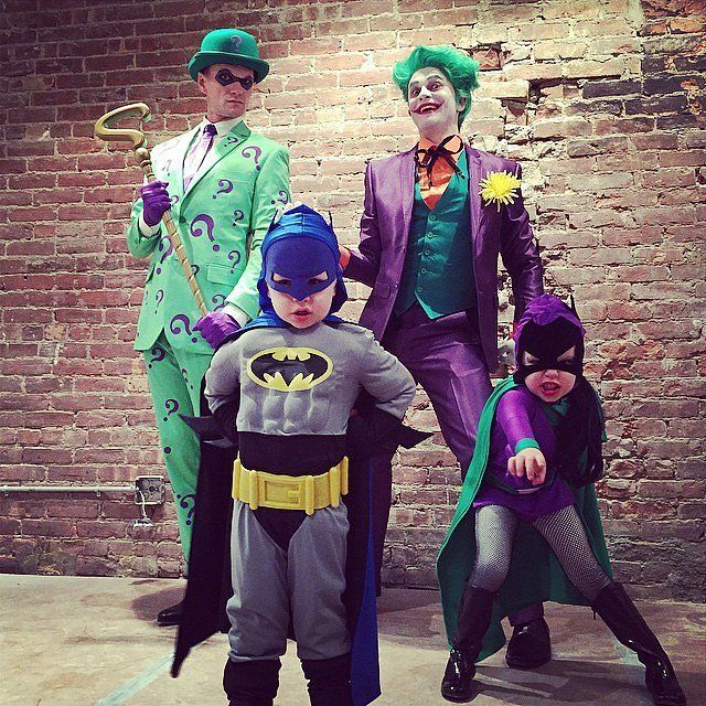 Neil Patrick Harris, David Burtka, and their kids all dressed up for Halloween (2014).