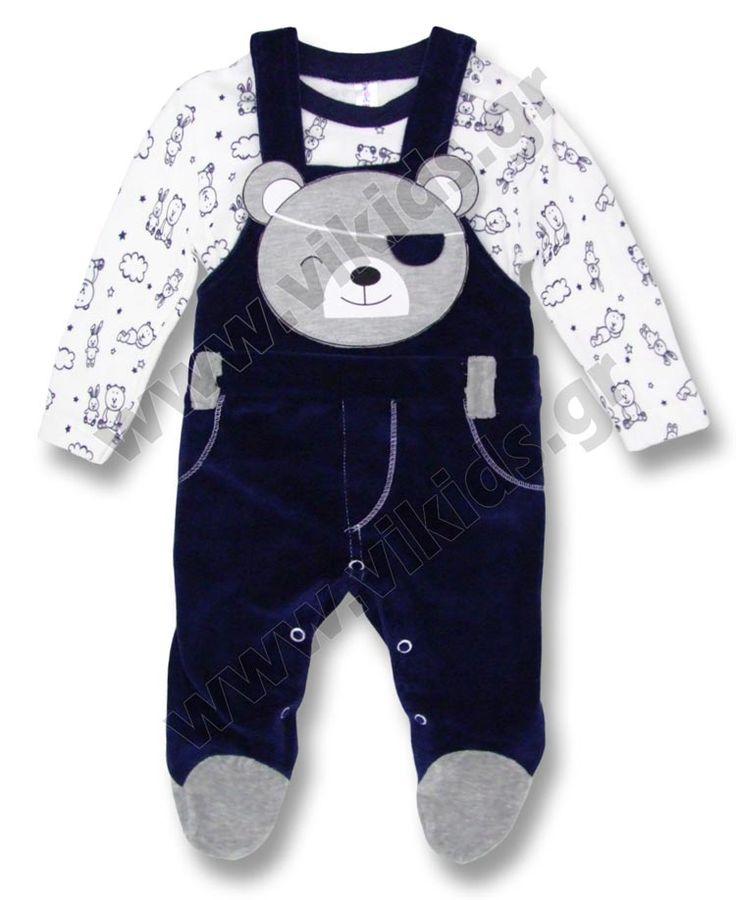 Σετ Βελουτέ σαλοπέτα & εμπριμέ μπλούζα. Για αγόρια 0-9 μηνών.